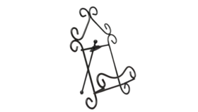 "Image of a Easel - 7.5"" Curly Black Scroll"