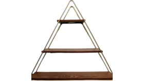 Image of a Display Shelf - Triangle Bronze and Wood