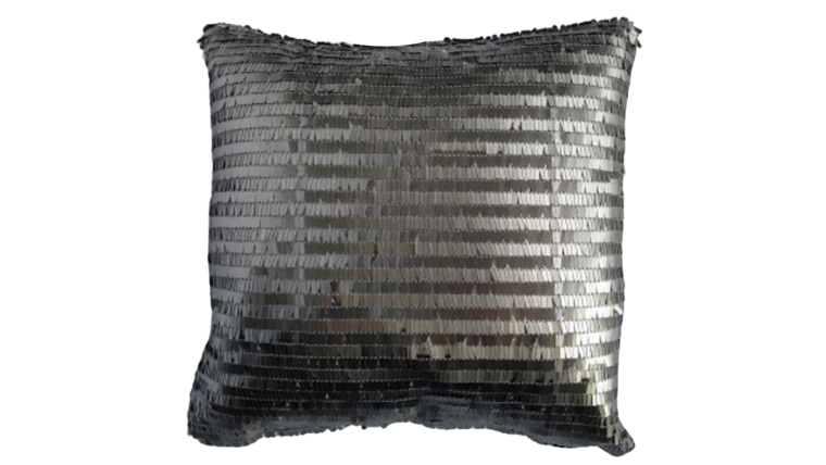 """Picture of a Accent Pillow - Silver Eyelash Fringe - 11"""" x 11"""""""