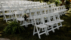 Image of a White White Wood Folding Chair