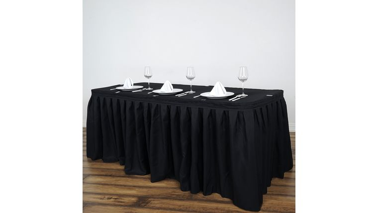 Picture of a 14' Black Polyester Table Skirting