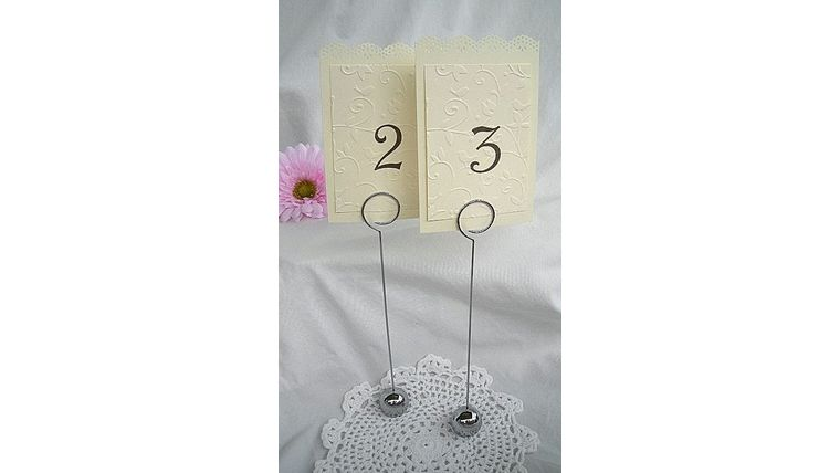 """Picture of a 9"""" Tall Silver Placecard Holder"""