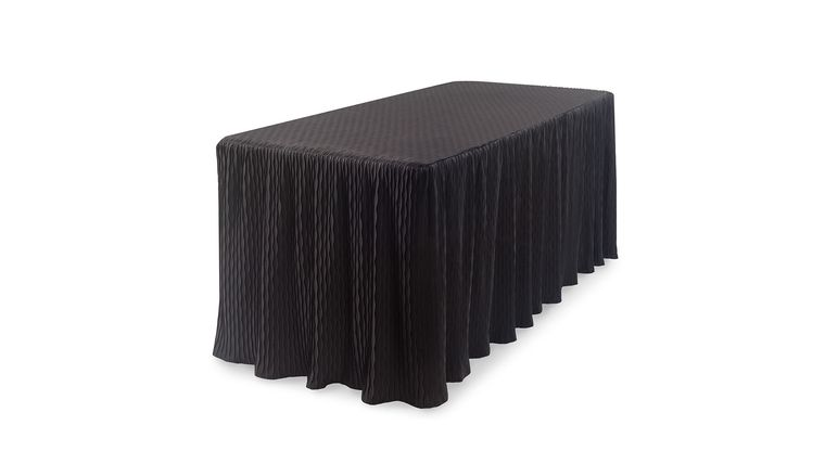 Picture of a 6' Black Pin Wave Fitted Table Cover