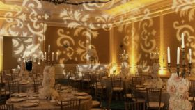 Image of a Damask - Pattern Lighting Wall Design