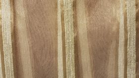 Image of a Linen-  Ivory Stripes Round Ivory Overlays 132""