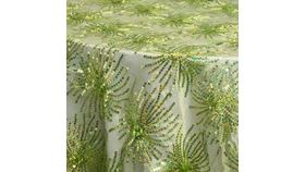 Image of a Linen-  Destiny Square Green Overlays 90""