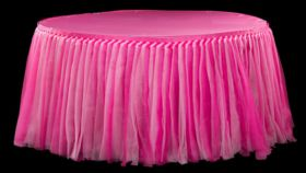 Image of a Tulle Tutu 21ft Table Skirt Fuchsia Pink