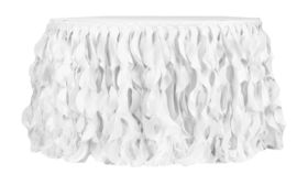 Image of a Curly Willow 21ft Table Skirt - White