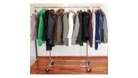 Image of a Coat and Garment Rack With 20 Commercial Grade Hangers
