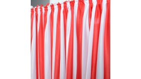 Image of a Circus Theme 9ft Red White Striped Table Skirt For Rectangle or Round Tables Ruffle