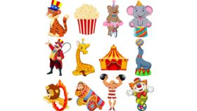 Image of a 24 Pieces Carnival Cutouts Party Supplies, Circus Theme