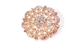 """Image of a ROSE GOLD DIAMOND ENCRUSTED ANTIQUE BROOCH 2"""""""