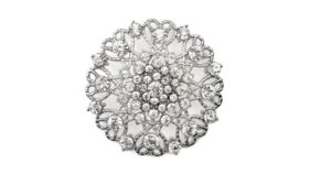 """Image of a SILVER ORNATE DIAMOND-ENCRUSTED ROUND BROOCH 2"""""""