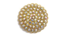"""Image of a GOLD LARGE CONCENTRIC IRIDESCENT GEMSTONE BROOCH 2.5"""""""