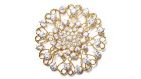 "Image of a GOLD JUMBO ROUND ORNATE DIAMOND-STUDDED BROOCH 4"""
