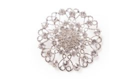 """Image of a JUMBO ROUND ORNATE DIAMOND-STUDDED BROOCH IN SILVER 4"""""""