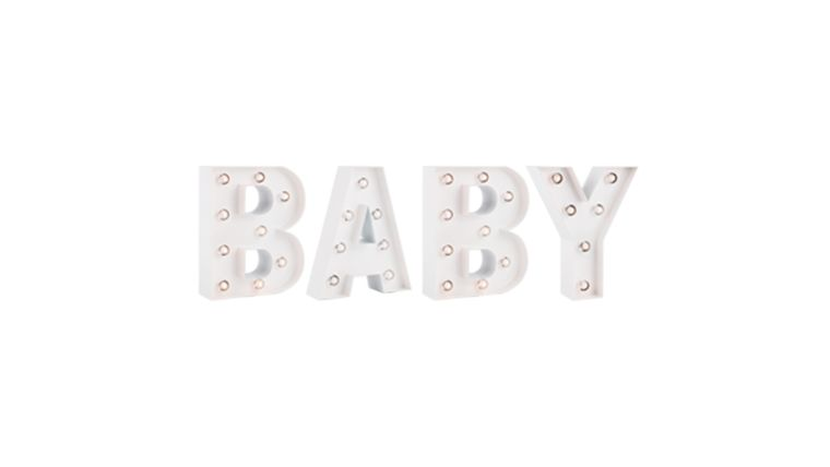 """Picture of a 'BABY"""" White Marquee Lights LED Metal Sign Battery Operated"""