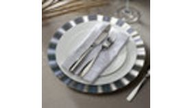 "Image of a 13"" Round Silver Ruffled Rim Plastic Charger Plate"