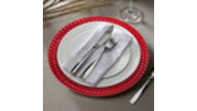 "Image of a 13"" Round Red Tiled Plastic Charger Plate"