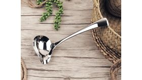 Image of a Stainless Steel Saucier Drizzle Spoon Mint Sauce Ladle Sauce with Spout