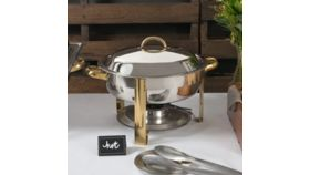 Image of a Deluxe 8 Qt. Round Gold Accent Chafer