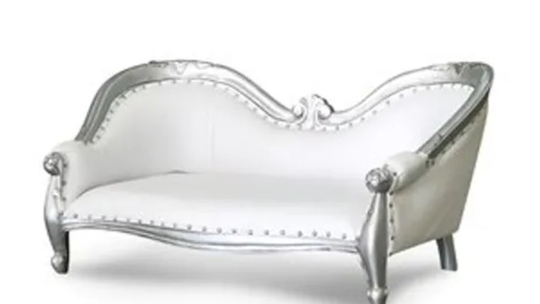 "Picture of a ""Luxure Chaise"" Sofa Ivory and Silver 38"""