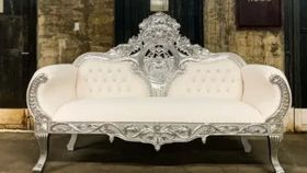 Image of a Angele Settee White and Silver