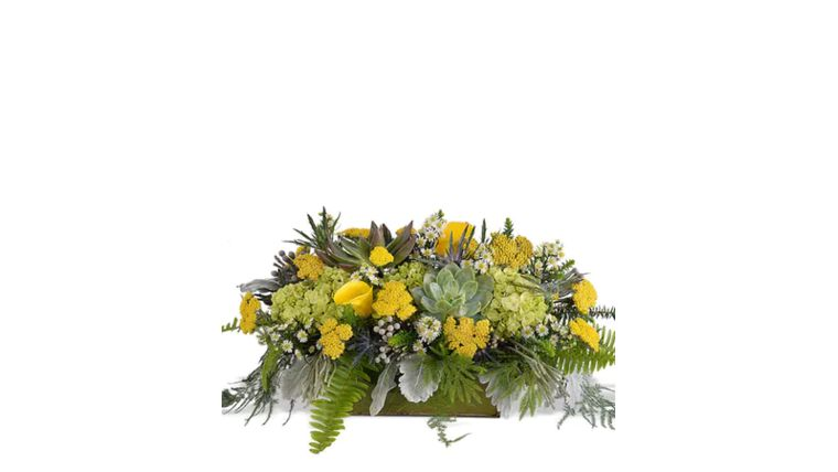 """Picture of a 14"""" Long Head Table Flower Arrangement Customer Colors Theme)"""