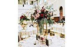 "Image of a Gold Metal Vase Flowers Arrangements 32"""
