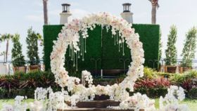 """Image of a White Flower Half Moon or Circular Arch 1Pc, 2pc Set 10'6"""" x 8'2"""""""
