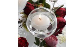 "Image of a 4 Pack - 3"" White Disc Unscented Floating Candles Long Lasting"