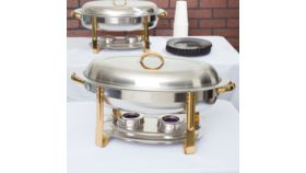 Image of a Deluxe 6 Qt. Oval Gold Accent Chafer