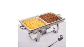 "Image of a Full Size 2 1/2"" Deep Divided Anti-Jam Stainless Steel Steam Chafer Pan"