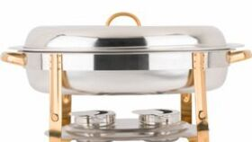 Image of a 6 Qt. Deluxe Round Gold Accent Chafer