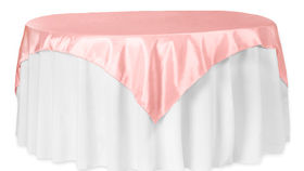 "Image of a Pastel Pink 72""x72"" Taffeta Table Overlay Topper"