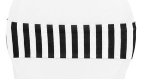 Image of a Black & White Striped Spandex Chair Band Covers
