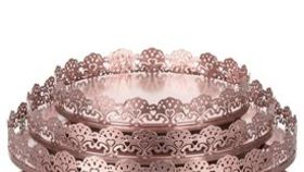 "Image of a ""Lacey"" 3-Piece Rose Gold Decorative Tray Set (Rose Gold or Silver)"