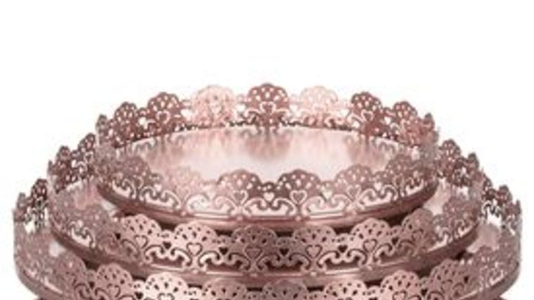 "Picture of a ""Lacey"" 3-Piece Rose Gold Decorative Tray Set (Rose Gold or Silver)"