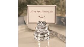Image of a Silver Cake Place Card Holder Stands