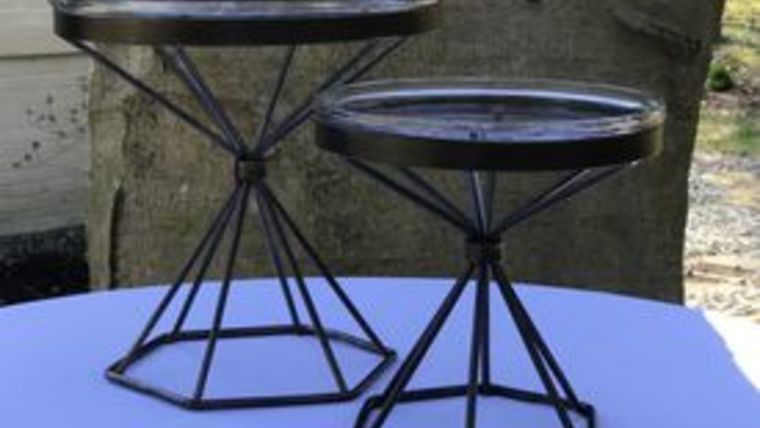 """Picture of a """"Simplicity"""" Glass & Metal Stands (Set of 2)"""