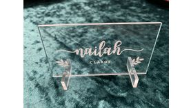 Image of a Custom Clear Acrylic Place Cards Seating Guest Names