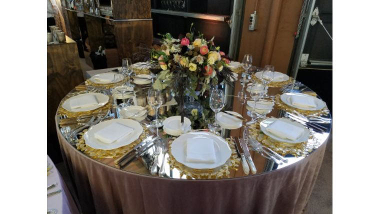 """Picture of a Mirror Acrylic Tabletop Gold 48"""""""