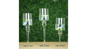 """Image of a Clear Long Stem Cylinder Glass Candle Holder Set of 3 - 12""""