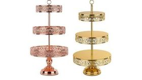 Image of a 3 Tiers Rose Gold Tiered Stands