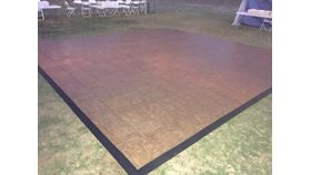 Image of a 15 x 15 Teak Wood Vinyl Dance Floor