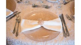 Rose Gold Glitter Glass/ Champagne Glitter Glass Charger image