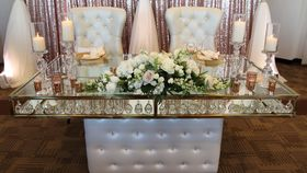 Image of a 6ft Glass Sweetheart Table- Finer Detailz Luxury Collection