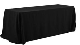 Image of a 90' 156' Rectangle Polyester Black Tablecloths