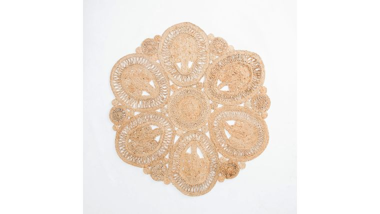 Picture of a 6' Round Flower Jute Rug