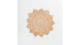 Image of a 3' Round Flower Jute Rug #1